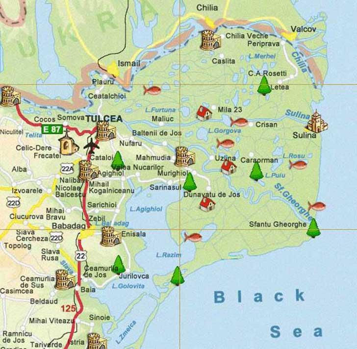 Mapa Delta del Danubio